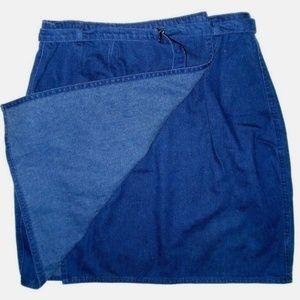 Vintage Route 66 Wrap Front Belted Denim Skirt